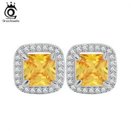 Wholesale Princess Cut Yellow Zircon Earring Stud with AAA Grade Micro Paved CZ Luxury Earring for Women OE123