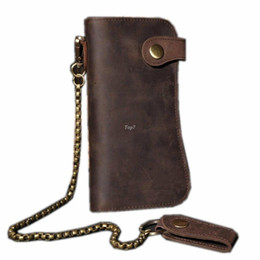 Men's Crazy Horse Leather Hasp Wallet With Chain