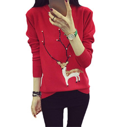 2016 New Winter Christmas Sweater Deer Long sleeve Knitted Sweater Plus size Women Clothing Warm Women Sweaters and Pullovers