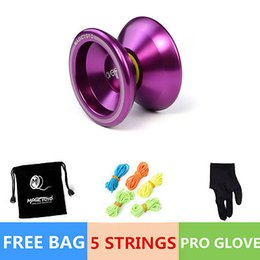 Wholesale Magic YOYO Ball T5 Overlord Aluminum Alloy Kids Toys Gift Purple String Bag for popular children gift toys