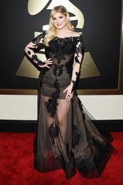 Wholesale 2015 Meghan Trainor th Grammy Awards Black Lace Celebrity formal Dresses with long sleeves sexy see through tulle appliques prom gowns
