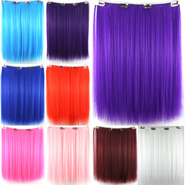 Wholesale 1PC inch cm g Synthetic Weave Colored Hair Extensions Straight Clip In Red Blonde Blue Brown Pink Purple