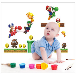 Wholesale Free Shippin Super Mario bros Children Boy Wall Sticker For Kid Room Nursery Wall Art Decal Mural Wallpaper Home Decorative Poster