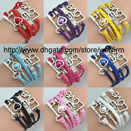 Wholesale Infinity Bracelets Antique Charm Love Key Infinity Braided Mix Colors Leather Bracelets Fashion Wrist bands Jewellery Drop