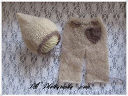 mohair baby full set crochet baby romper and mohair baby hat photography props