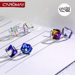 Wholesale Kalome S925 silver jewelry colorful Aurora Korea Crystal Earrings female anti allergy earrings earrings simple