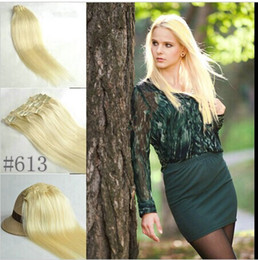 "5A 10pcs set 160g set 18""-26"" #613 light blonde real human hair brazilian hair clips in extensions real straight full head dhl free"