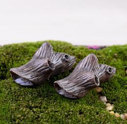 Wholesale 6pcs Artificial mini dead wood stump fairy garden miniatures gnome moss terrariums resin crafts figurines for home decoration