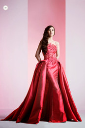 Amazing Elie Saab Evening Dress Red Crew A-line Applique lace Prom Dress With Detachable Train Free Shipping