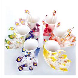 Wholesale Porcelain enamel Mugs peacock coffee cup tea set cup fashion ceramic fashion colored drawing set creative tea cup colors