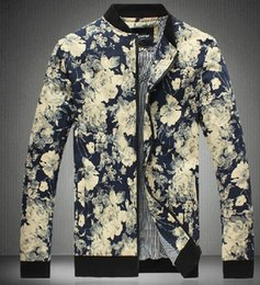 Wholesale 2016 New Arrival man Jackets Coats Men Outwear Mens Fashion Jacket Coat Men Clothes Flower Style Jacket