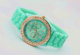 Wholesale 10 colors Silicone Watch GENEVA Fashion Sports Crystal quartz wrist Watch men women students wristwatches