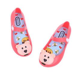 Summer Style Children Gril Shoes PVC Sandals Cartoon Bear Mini Melissa Hasp Plastic Shoes Kids Shoes