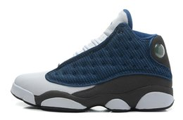 Wholesale Nike Air Men s Jordan XIII RETRO quot FLINT quot A French Blue University Blue Flint Grey White