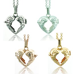 Wholesale Fashion Pendant Necklace Baby Musical Chime Bells Color Heart Cage Angel Necklace For Women Jewelry