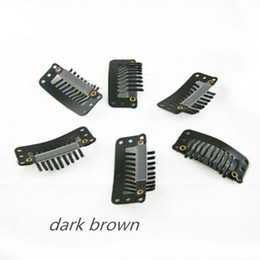 Dark Brown Color Clip 3.2cm 9 teeth water drop metal clip Tools for hair extension weave 4 colors available,100pcs lot