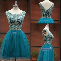 2016 Hunter Short Homecoming Dresses Sheer V Neck with Beading A Line Tiers Tulle Prom Gowns Chic Cocktail Dresses Custom Knee Length