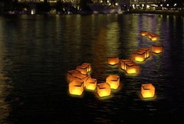 Wholesale Paper Lanterns Water Floating Light Square Chinese Lanterns Water Blessing Light Festival Lanterns Floating Wishing Light Water Candle Light