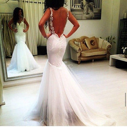 Beach Wedding Dresses 2015 Mermaid Wedding Dress Sweetheart Garden Wedding Gown Ruffled Tulle Cheap Backless Wedding Dress with Appliques
