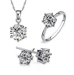 Descuento piedras preciosas conjunto de plata de ley Conjunto de joyas de dama de honor para el oro de la boda como 925 cadenas de plata esterlina Pendiente colgante collar para las mujeres Anillos de piedras preciosas Juegos de joyas de fiesta