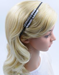 Girl Women Glass Rhinestone Headband White with Black Color New Fashion Handmade High Quality Hair Jewellery for Wholesale