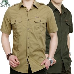 Wholesale-Big Size M-5XL (60-110kg) Summer Style Mens Casual Shirt Brand Army  Pocket Short Shirts For Men Man,Camisas Hombre TOP!