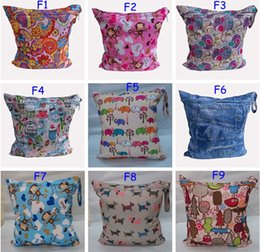 Colorful Print Baby Diaper wet bag One Zippered Reusable Waterproof baby Cloth Diaper Wet Dry Bag