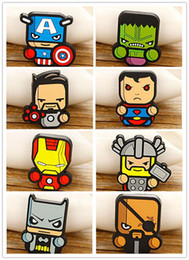 Wholesale The Avengers Cartoon Brooches Pins Superheroes Q version Colorful silicone Children badge iron Man Superman brooch Safety pins Fashion gifts