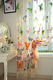 Wholesale 1 Piece Butterfly Sheer Curtain Panel Window Room Divider