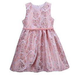 Pettigirl Girls Elegant Flower Dresses Pink O-Neck Kids Vest Dress With Pearls Retail Kids Designer Clothes Girls GD81125-335F
