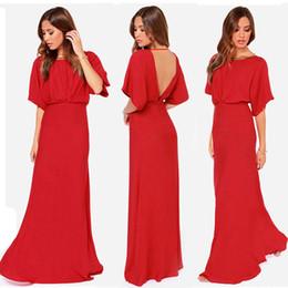 Wholesale Short Sleeve Mermaid Maxi Dress - 2016 Ladies Red Floor_Length Occasion Dress Short Sleeve Backless Maxi Chiffon Dress Petite Evening Party Long Dress MDF0218