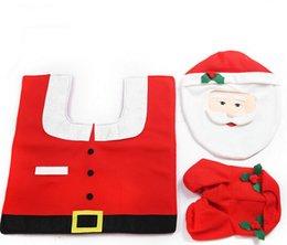 Wholesale 1Set Christmas Decorations Santa Toilet Seat Cover and Rug Set Bathroom Set
