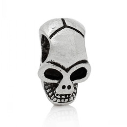 Jewelry Findings Spacer Beads Skull Halloween Antique Silver About 12mm x 8mm,Hole:Approx 3.6mm,100PCs