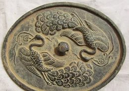 Wholesale Miscellaneous antiques Favorites Antique bronze mirror bronze double peacock Bronze crafts ornaments Chinese special gifts Collection