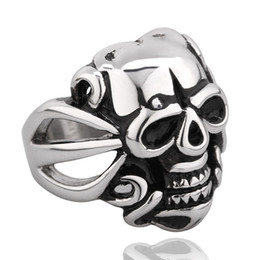DEATH Stainless Steel Mens Rings Vintage Silver Skull Ring Color Retention Fashion Jewelry Good Quality S023