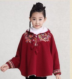 Wholesale Children S Hooded Poncho - 2016 Girls fashion cape Girls autumn winter outfit female child long-sleeved jacket children batwing coat thick coat