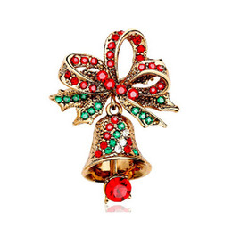 Antique Gold Plated Red and Green Rhinestone Crystal Diamante Bow and Bell Christmas Brooch