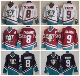2017 Stanley Cup Playoffs Patch Anaheim Ducks Men 's CCM Old Style Jerseys 8 Teemu Selanne 9 Paul Kariya Purple Red White Hockey Jerseys