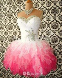 Wholesale 2015 Hot Sale Pink And White Cute Homecoming Dresses Ball Gowns Corset tie Back Graduation Dress Short Prom Dress Cocktail Gowns Sleeveless