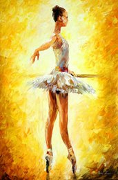 Wholesale Gift Oil Painting Modern art in the ballet class by Leonid Afremov hand painted High qualilty