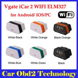 Wholesale 6 Colors New Arrival Vgate WiFi iCar OBDII ELM327 iCar2 wifi vgate OBD diagnostic interface for IOS iPhone iPad Android