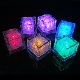 LED Ice Cubes Fast Flash Night light Slow Flashing 7 Color Changing led lamp Crystal Cube Valentine's Day Party Wedding Holiday light