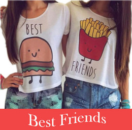 Wholesale New Casual Crop Tops Women Summer Round Neck Best Friends Print T Shirts Fashion Short Sleeve Printed Shirt Female QL820