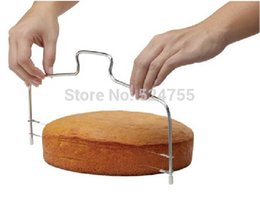 Wholesale New Double Line Adjustable Stainless Steel Metal Cake Cut Tools Cake Slicer Device Decorating Mold Bakeware Kitchen Cooking Tool