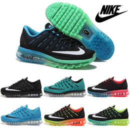 Discount Shoes Run Air Max Nike Air Max Flyknit 2016 Running Shoes For Men New 100% Original Weaving Line Mens Brands Sports Shoes Trainers Outdoor Free Shipping