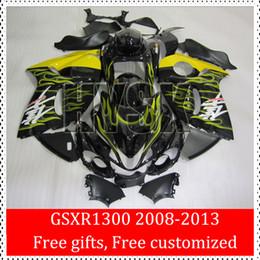 Yellow Fire Flame Fairing Kits Of Suzuki GSXR1300 2008 2009 2010 2011 2012 2013 GSXR 1300 GSX-R1300 08 09 10 11 12 13 Hayabusa Body Parts