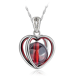 Natural Garnet Heart Pendant Necklace Love Lucky Choker Necklace Korea Fashion Style For Wholesale Free Shipping