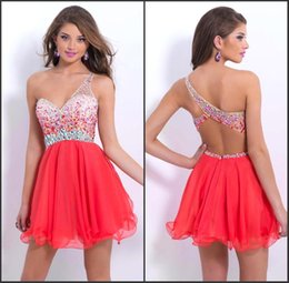 Wholesale One Shoulder Cheap Short Mini Homecoming Dresses Chiffon Backless Crystal Beaded Sexy Short Cocktail Dress Prom Party Gowns only