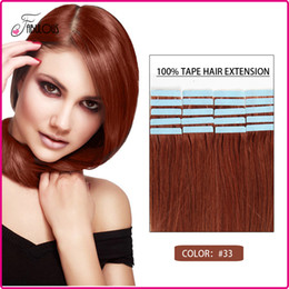 Hot Sell Tape Hair Extension 100% Remy Human Hair Skin Hair Weft #33 Brazilian Virgin Hair Straight Freeshipping