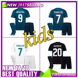 2017 BOY Kids Kit Real Madrid Football Jersey 171 8 Home Away blue Boy Soccer Jersey Ronaldo Bale ASENSIO ISCO Child 3rd BOY Soccer Shirts